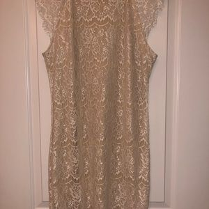 Dresses - White and tan Lace dress